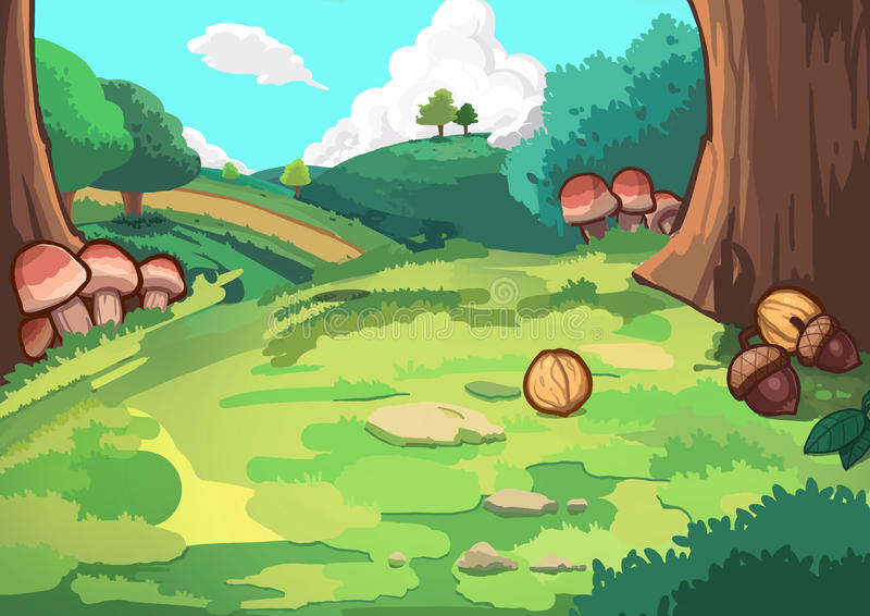 Wzgórze w lesie ilustracja wektor