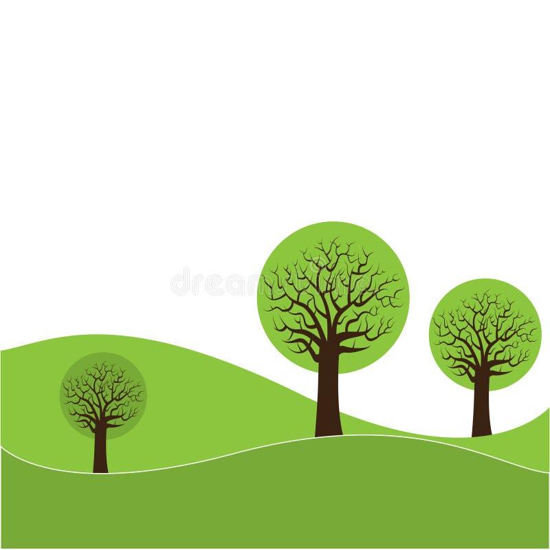 wzgórzy ilustraci drzewa ilustracja wektor