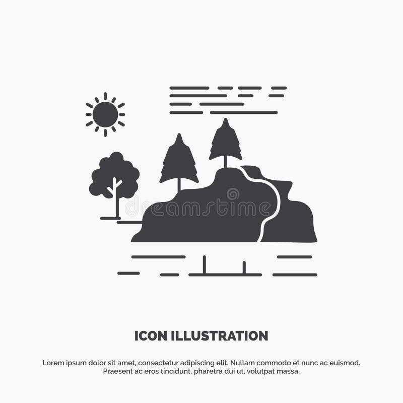 wzg?rze, krajobraz, natura, g?ra, podeszczowa ikona glifu wektorowy szary symbol dla UI, UX, strona internetowa i wisz?cej ozdoby ilustracja wektor