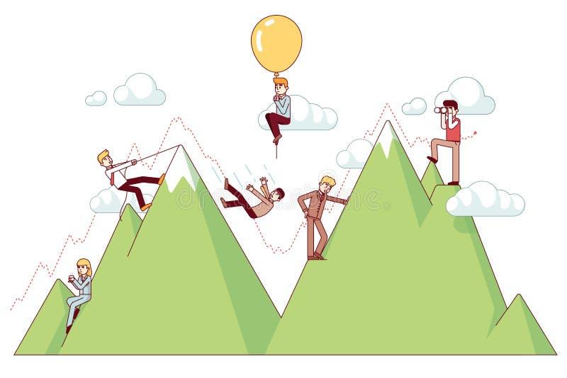 Wzloty i upadki na przedsiębiorca ścieżce ilustracji