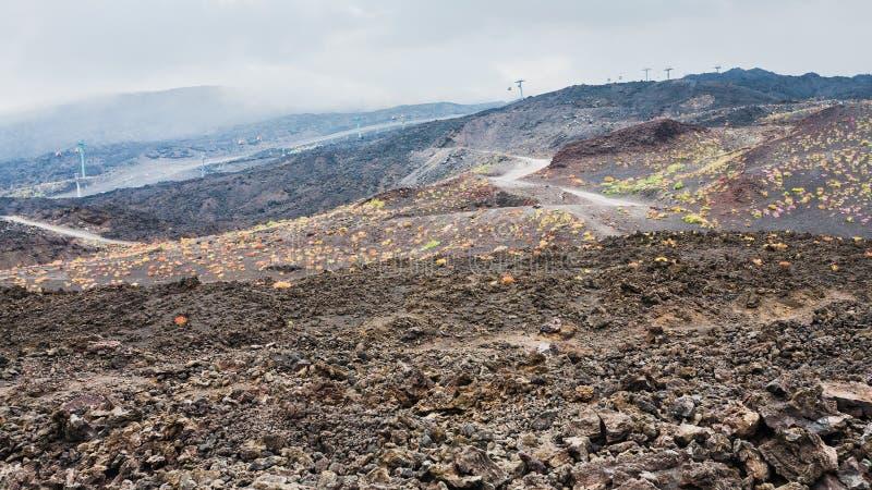 Wzmacniający cableway na górze Etna i zdjęcia royalty free