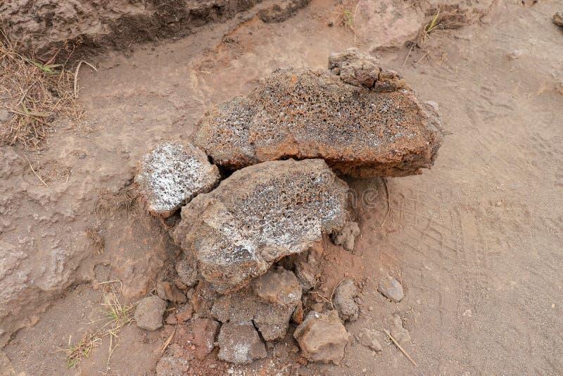 Wzmacniający kawałki lawowi kamienie Porowata struktura ogniowa lawa Łamani lawa kamienie na piaskowatym i zakurzonym tle na górz obrazy royalty free