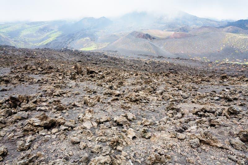 Wzmacniający lawowy pole na górze Etna w Sicily zdjęcie royalty free