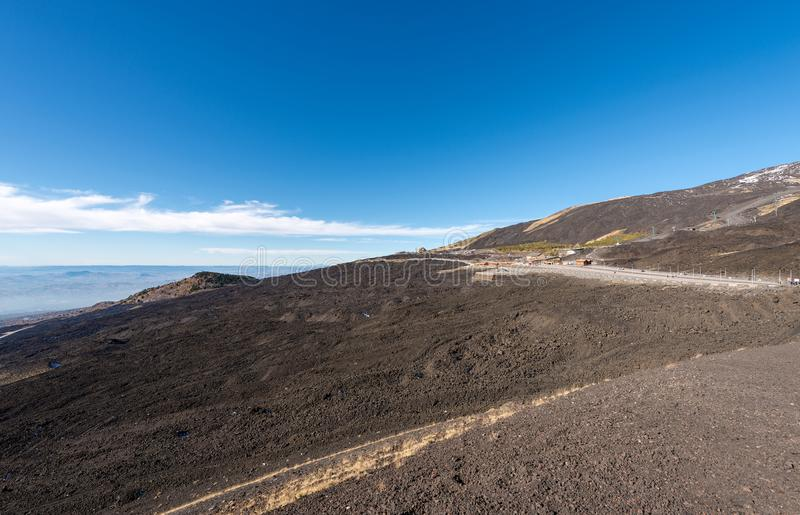 Wzmacniający Lawowy przepływ - Etna wulkan Sicily Włochy zdjęcia royalty free