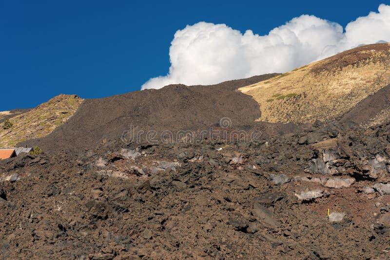 Wzmacniający Lawowy przepływ - Etna wulkan Sicily Włochy zdjęcia stock