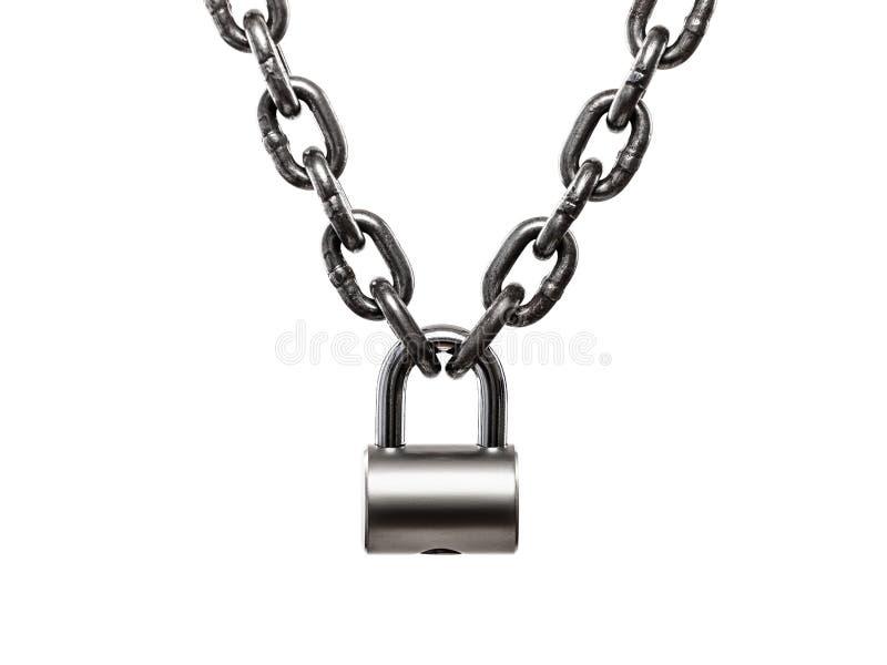 Wzmacniający stalowego ładunku metalu podnośny łańcuch blokował na kłódce fotografia stock