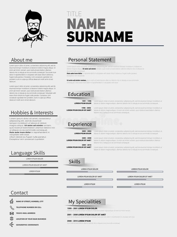 Wznawia minimalisty CV, życiorysu szablon z prostym projektem, compan royalty ilustracja