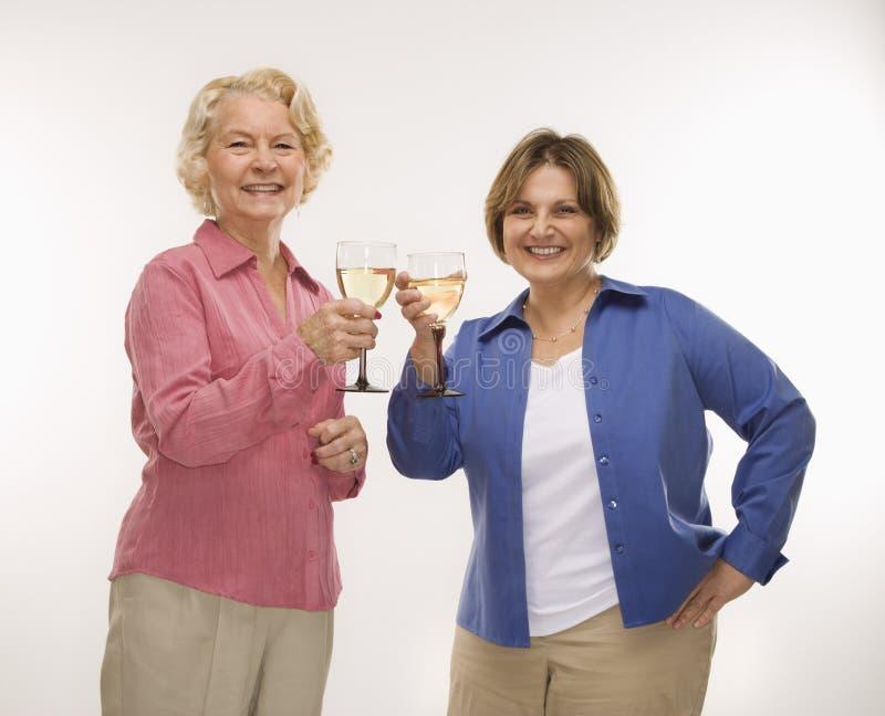 wznieść toast za dwie kobiety wina zdjęcia stock