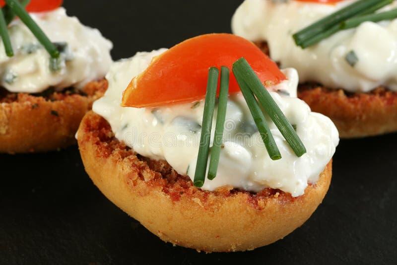 Wznoszący toast buschetta z chałupa serem obrazy stock