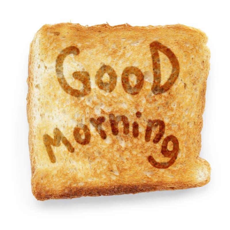 Wznoszący toast chleb życzy dzień dobrego zdjęcia stock