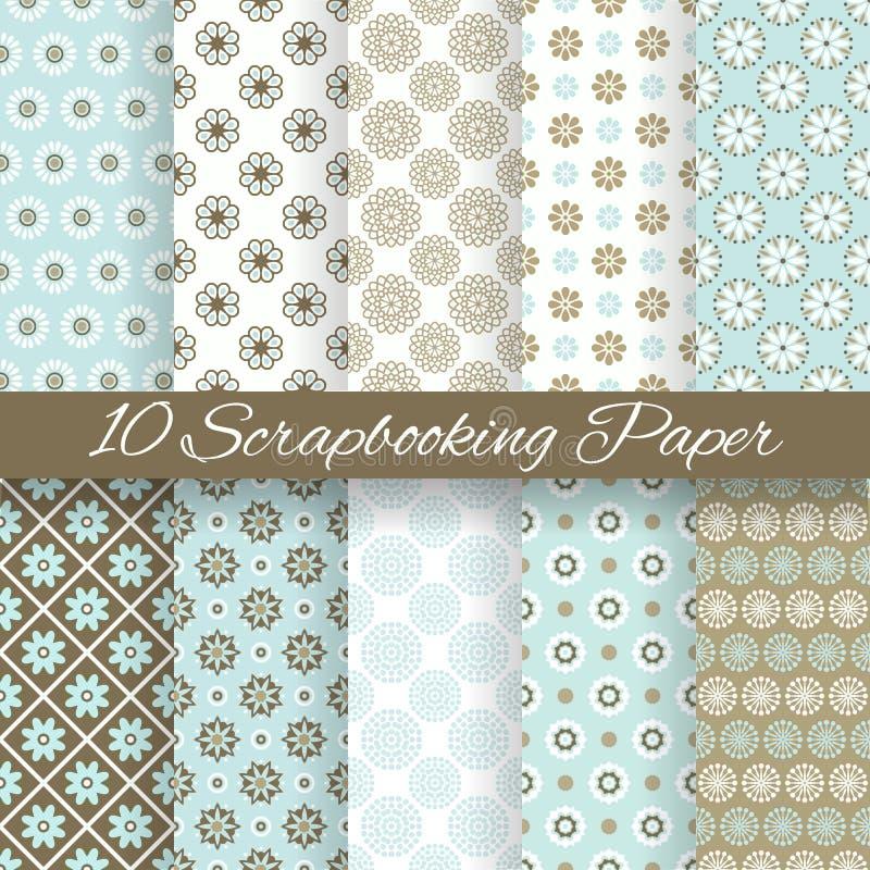 Wzorów papiery dla scrapbook (taflować). ilustracja wektor