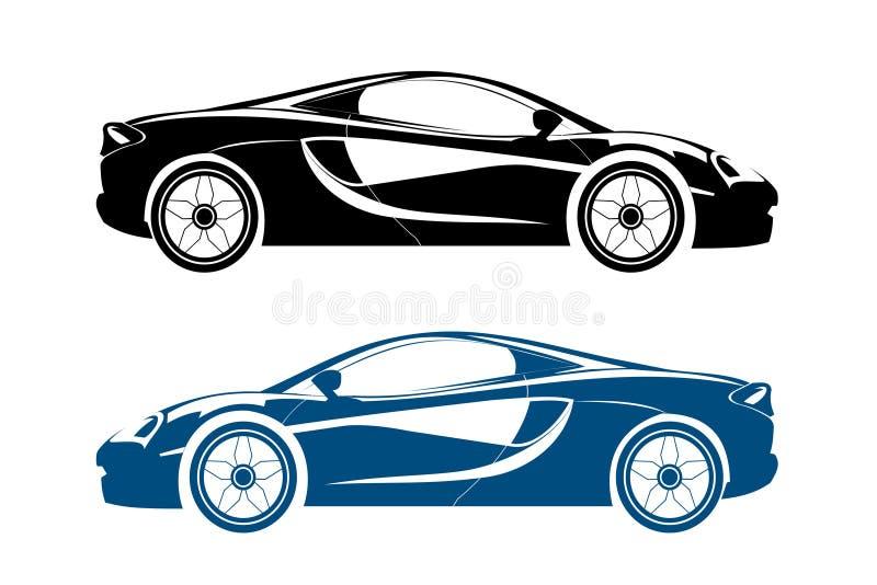 Wzorcowa czerwień i błękit profilowi samochody Wektorowy sporta samochodu projekt royalty ilustracja