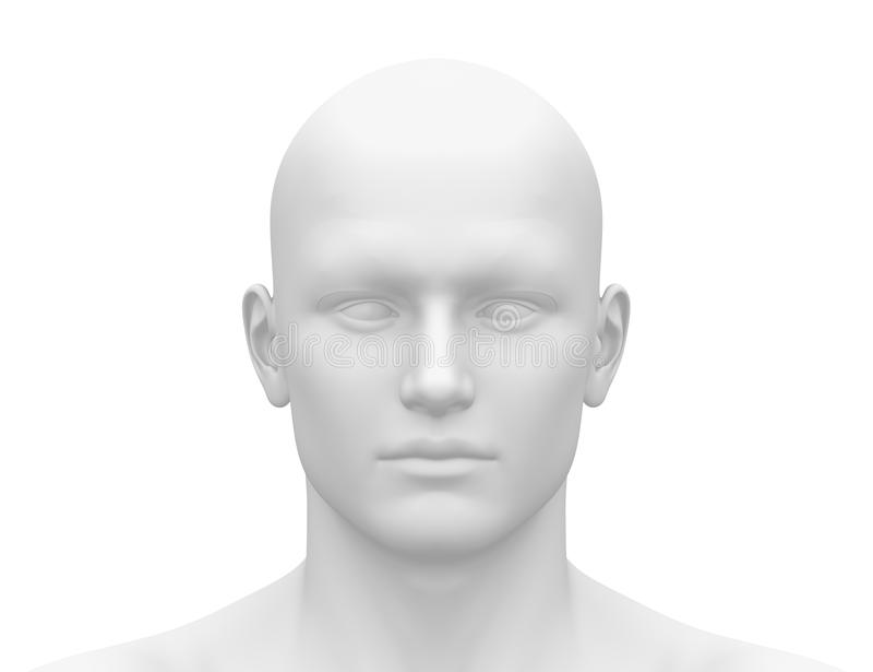 Pusta Biała samiec głowa - Frontowy widok ilustracja wektor