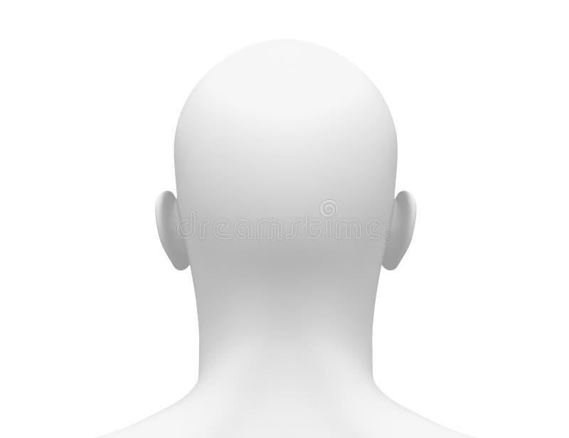 Pusta Biała samiec głowa - Tylny widok ilustracji