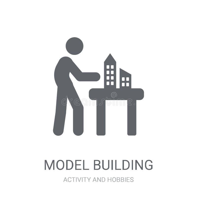 Wzorcowego budynku ikona Modny Wzorcowego budynku logo pojęcie na bielu ilustracji