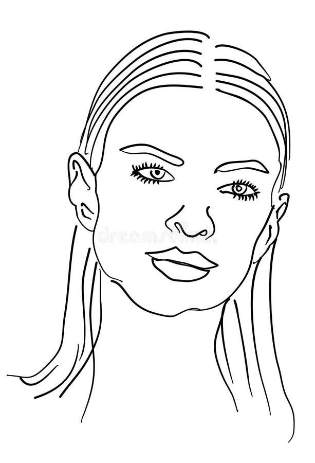 Wzorcowy ?e?ski twarz rysunek royalty ilustracja