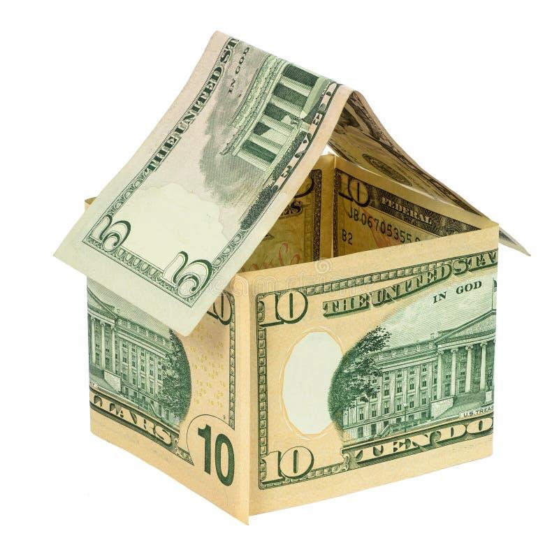Wzorcowy dom robić od dolarowych banknotów obrazy royalty free
