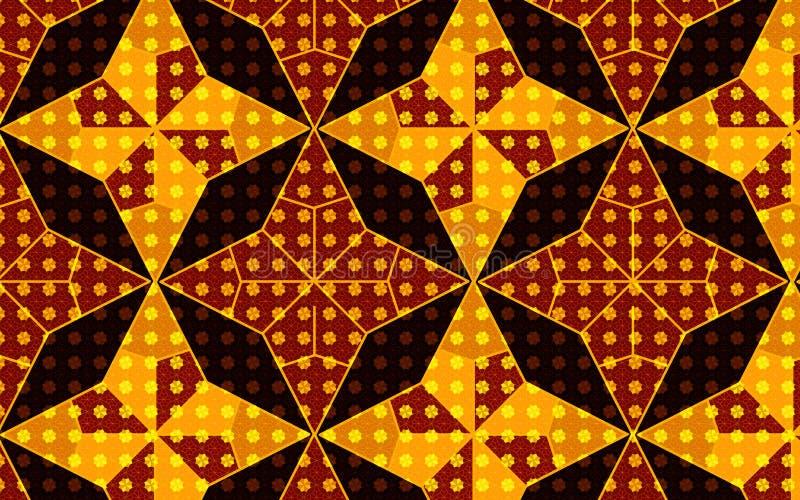 Wzoru inside wzoru skutek w wektorowym złotym brown i żółtym gwiazda wzorze royalty ilustracja