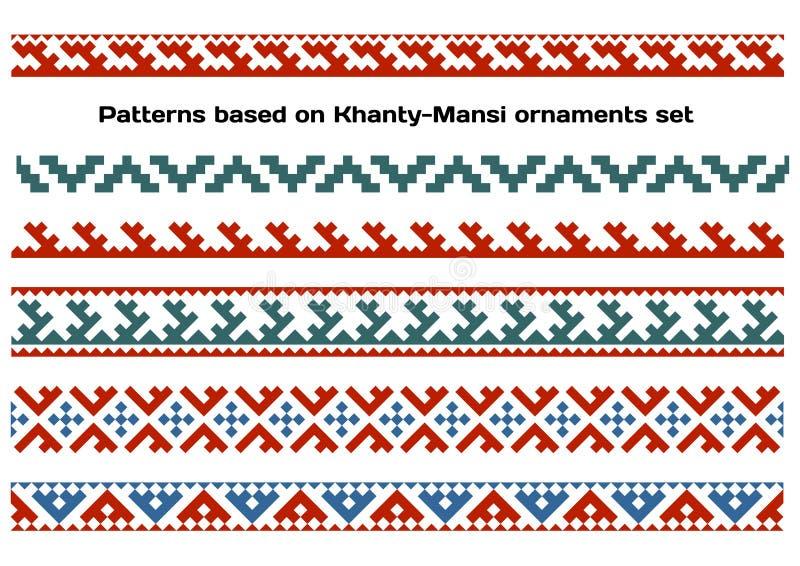 Wzory opierający się na Khanty-Mansi ludu Syberyjskich ornamentach ustawiających ilustracja wektor