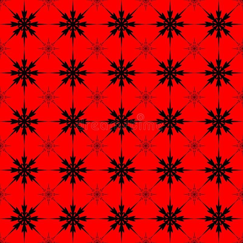 Wzorzec świetlnych, powtarzalnych, ciemnych płatków śniegu na czerwonym tle zdjęcie stock