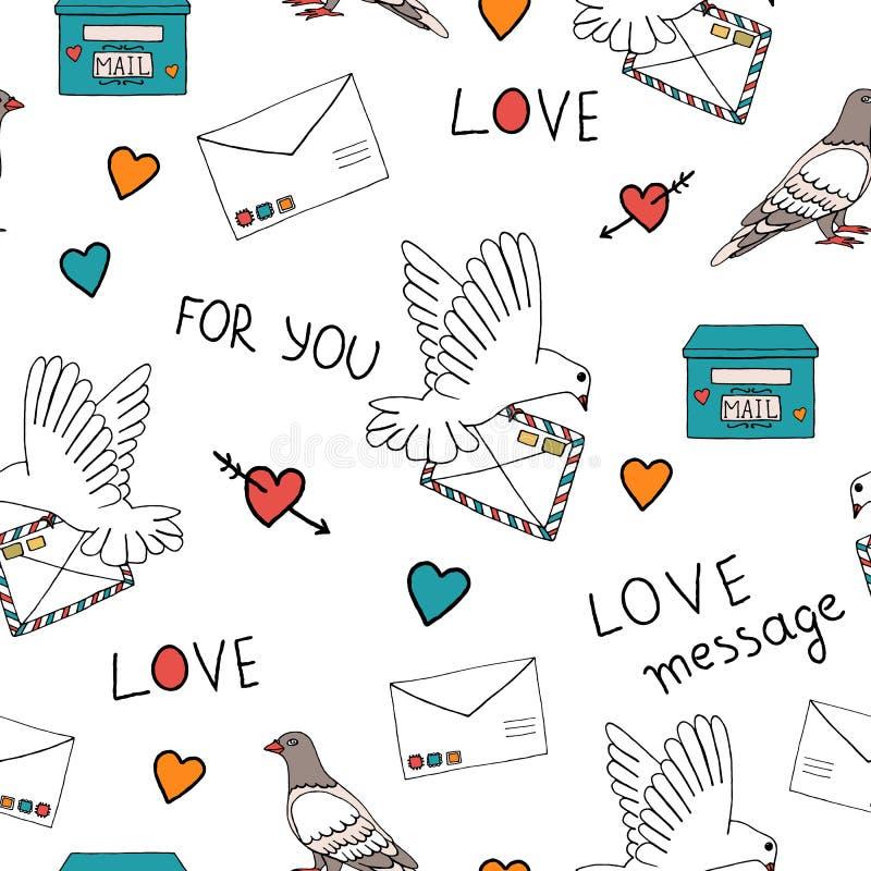 Wzorzec pocztowy gołębia ilustracja wektor