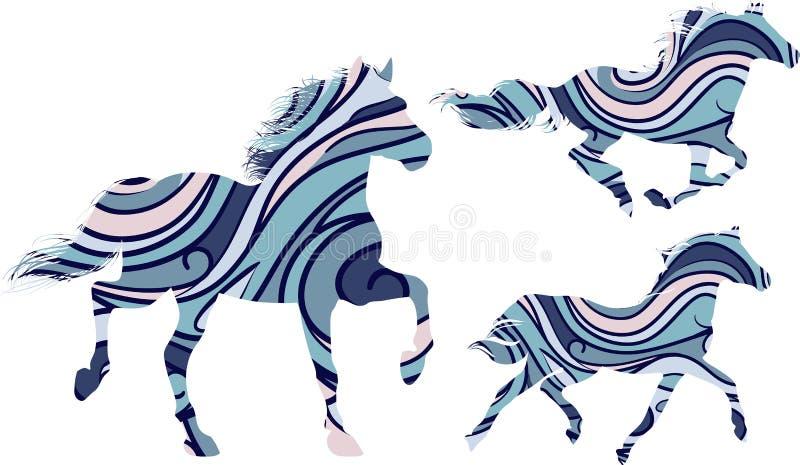 Wzorzyści konie ilustracja wektor