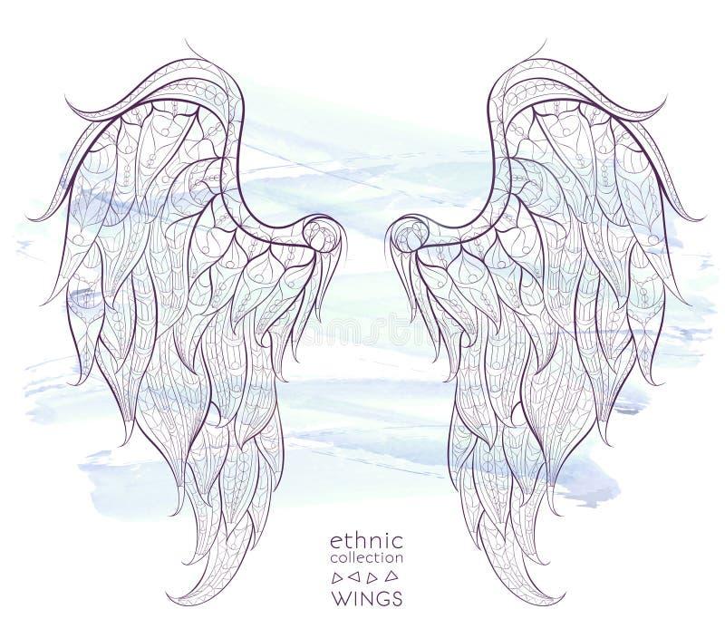 wzorzyści skrzydła ilustracja wektor