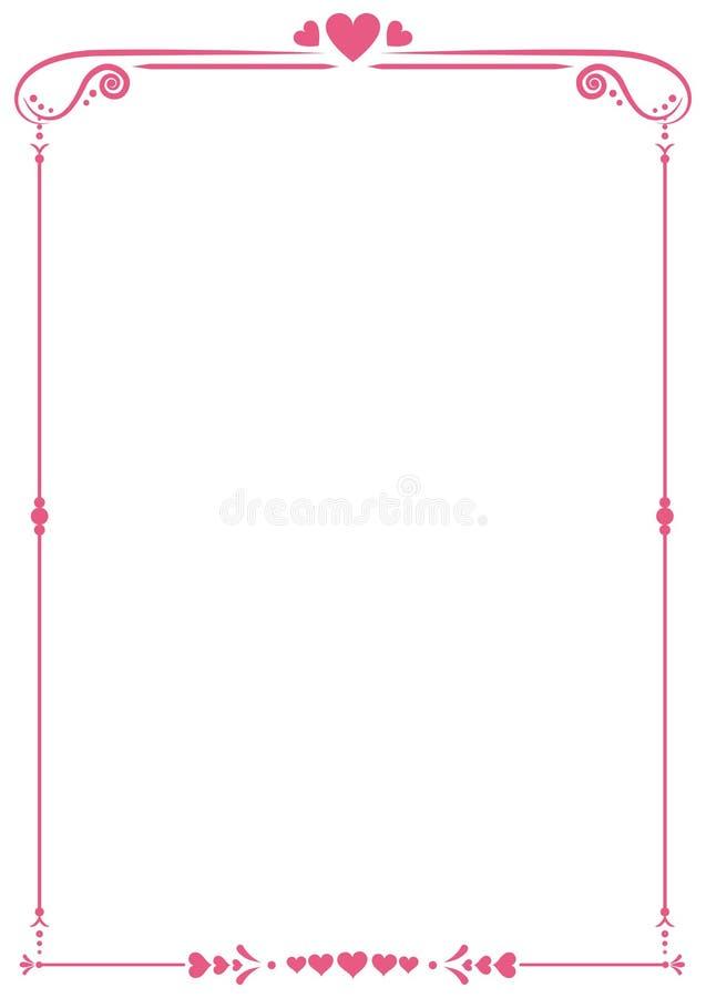 Wzorzysta czerwona serce granica fotografia stock