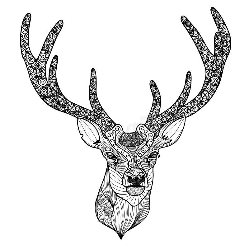 Wzorzysta rogacz głowa royalty ilustracja