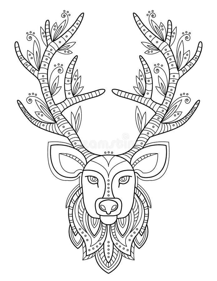 Wzorzysta rogacz głowa z dużymi poroże royalty ilustracja