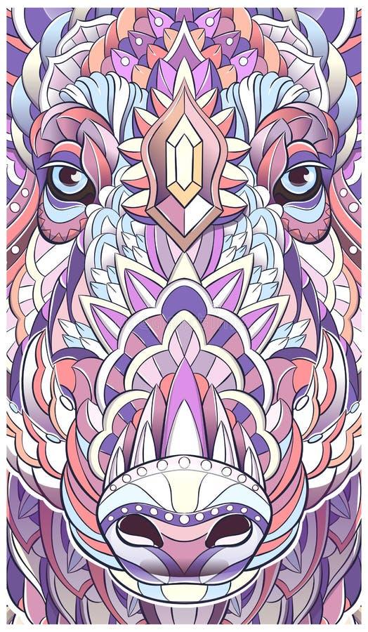 Wzorzystości głowa knur świnia chlewnie ilustracja wektor
