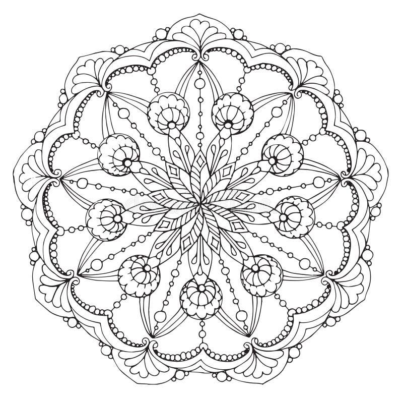 Wzorzysty fantazji mandala wzór liście i kropelki royalty ilustracja