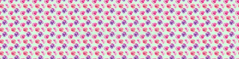 Wzrastał bezszwowego wzór z naturalnymi akwareli ilustracjami akwareli róże na papierze ilustracja wektor