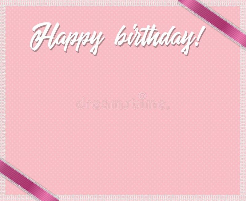 Wzrastał i polek kropek urodzinowa struktura z wszystkiego najlepszego z okazji urodzin tytułem, różowymi faborkami i biel koronk ilustracji