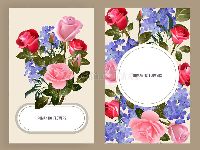 Wzrastał karty Kobieta zdroju kosmetyczna dekoracja czerwieni i menchii pączki różanych bukiet kwiaciarni miłości symboli/lów wek ilustracja wektor