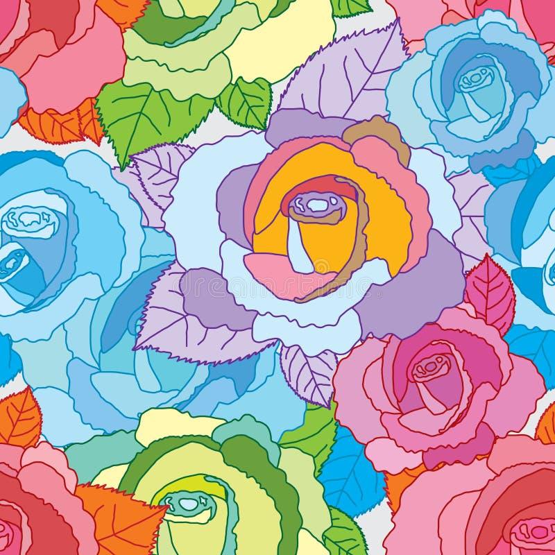 Wzrastał kreskowego kolorowego bezszwowego wzór ilustracji