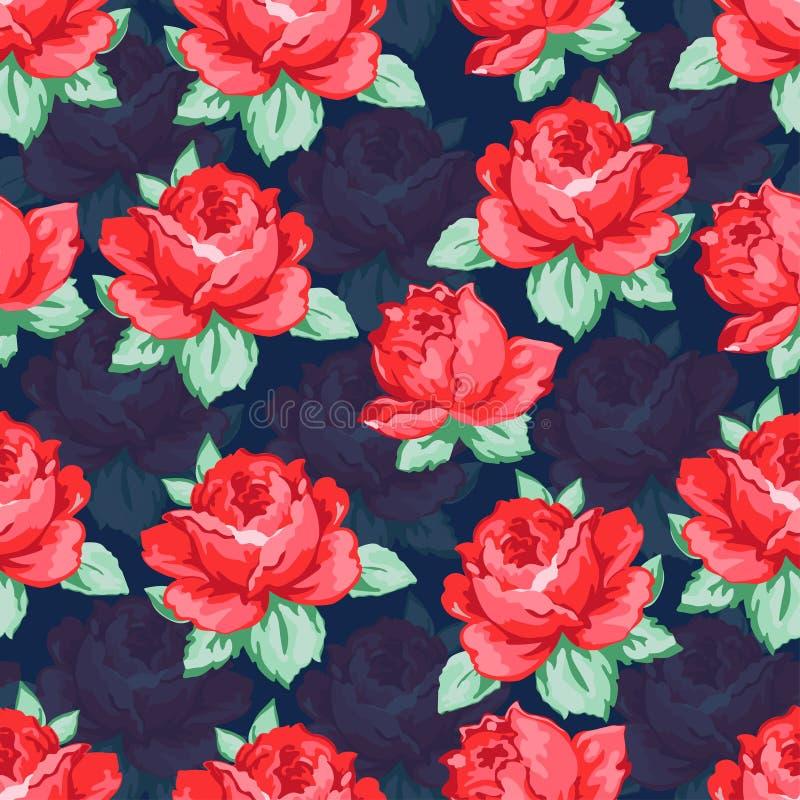 Wzrastał kwiat rękę rysuje bezszwowego wzór, wektorowy kwiecisty tło, kwiecisty hafciarski ornament Patroszona pączek czerwieni r royalty ilustracja