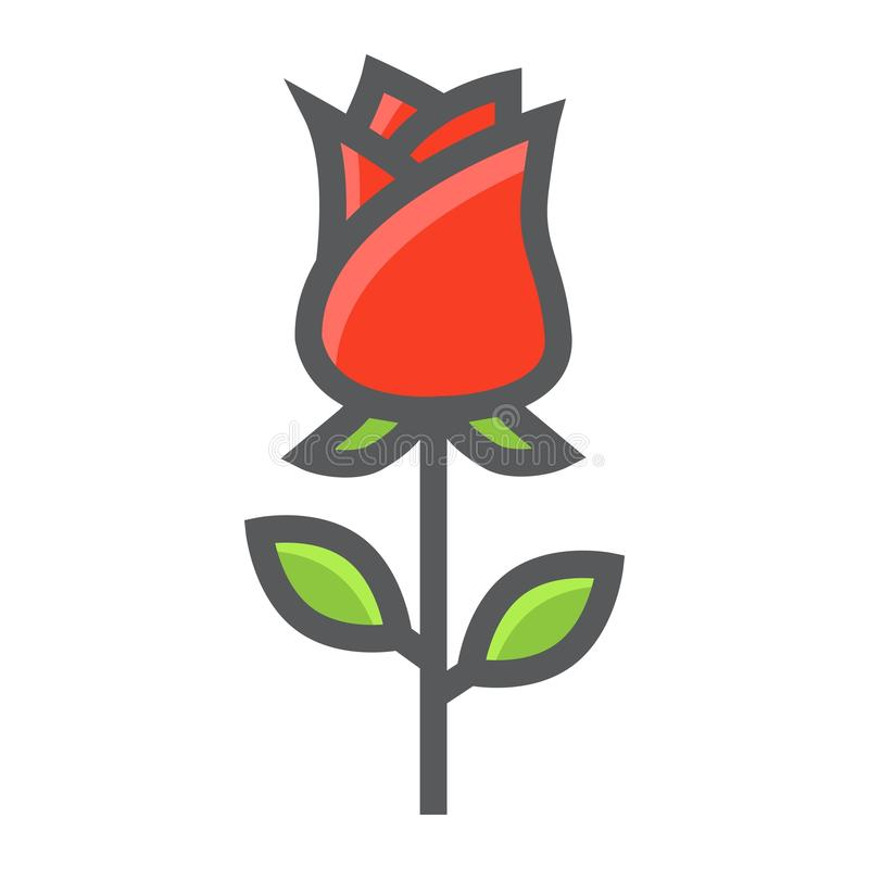 Wzrastał kwiat wypełniającą kontur ikonę, valentines dzień ilustracji