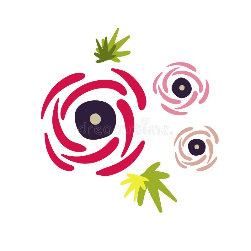 Wzrastał kwiatu kwiecistego projekta karcianego wektorowego elementu pierwotnego scandinavian ilustracja wektor
