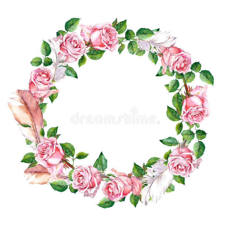 Wzrastał kwiatu wianek z piórkami Kwiecista okrąg granica akwarela ilustracja wektor