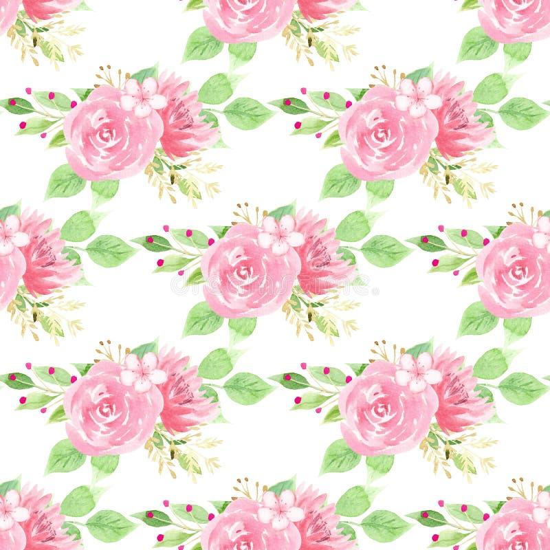 Wzrastał, lotosu i Sakura raster bezszwowy wzór, royalty ilustracja