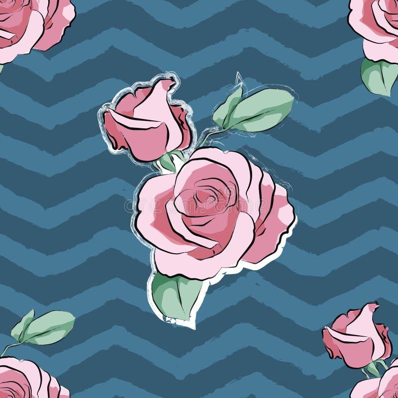 Wzrastał menchia kwiatu pasków ręka rysującego falowego wzór royalty ilustracja