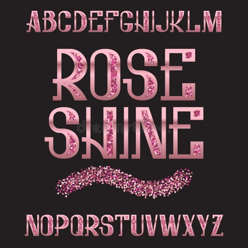 Wzrastał połysku typeface Różowa złocista błyskotliwa chrzcielnica Odosobniony ozdobny angielski abecadło royalty ilustracja