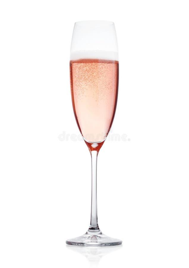 Wzrastał różowego szampańskiego szkło z bąblami odizolowywającymi zdjęcia stock