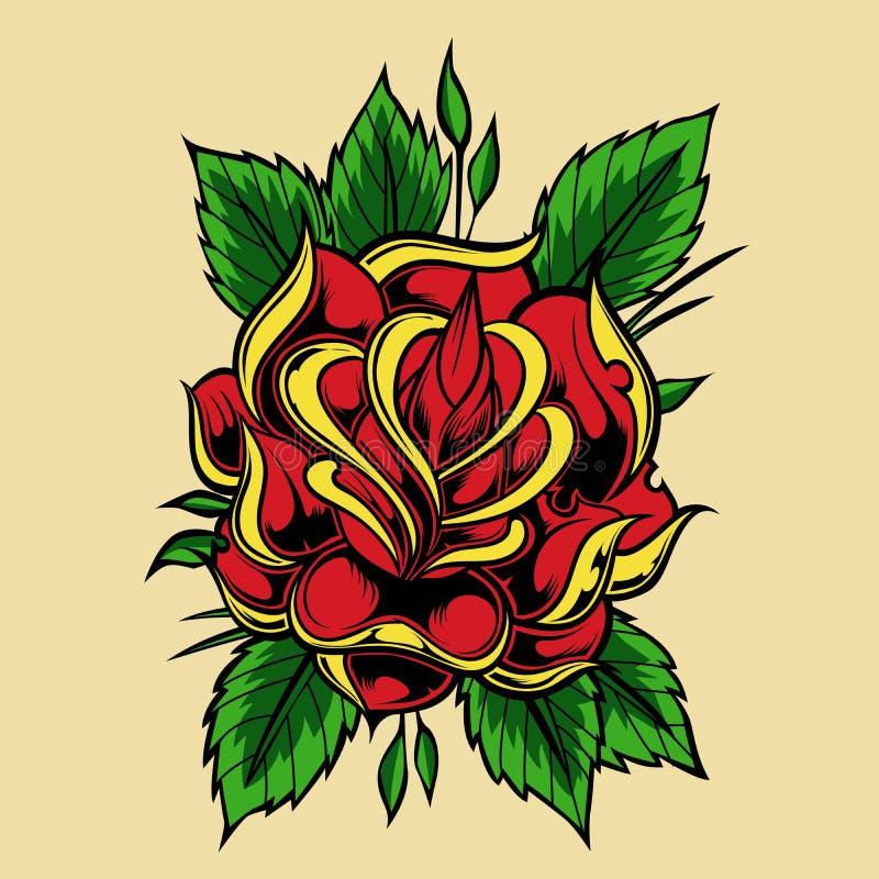 Wzrastał tatuaż starej szkoły projekta wektorową ilustrację royalty ilustracja