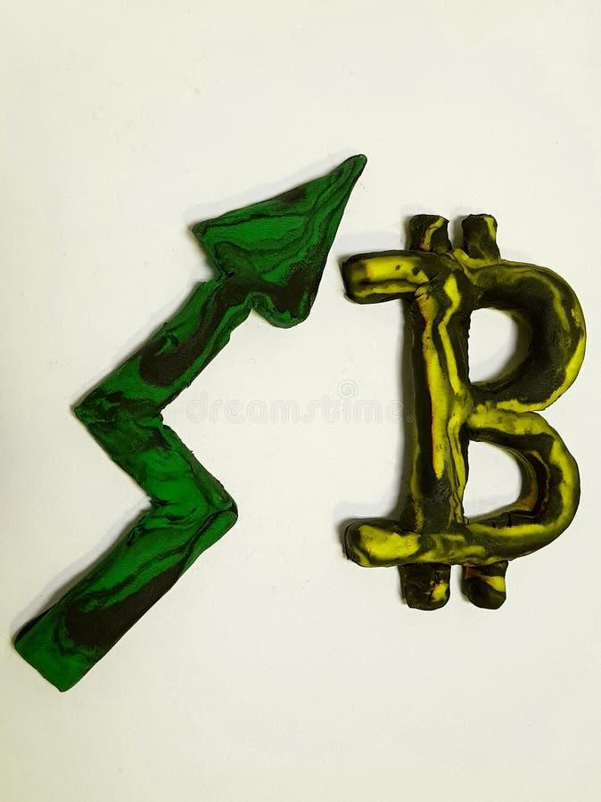 wzrasta w wartości bitcoin, plastelin postacie obraz royalty free