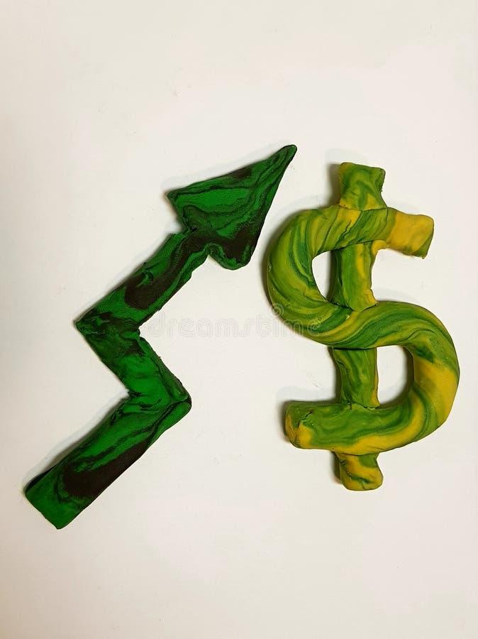 wzrasta w wartości dolar, plastelin postacie fotografia stock