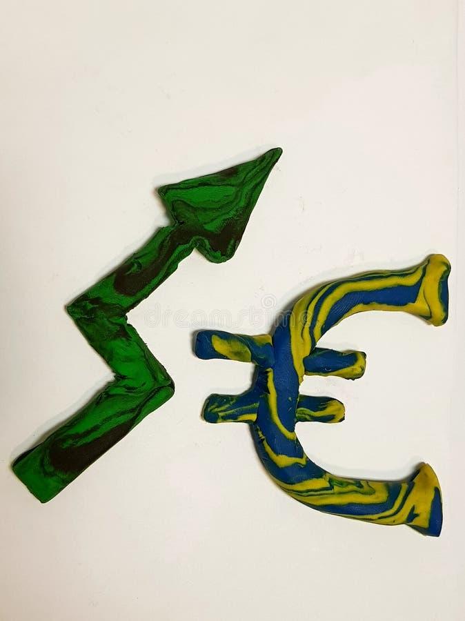 wzrasta w wartości euro, plastelin postacie obrazy stock