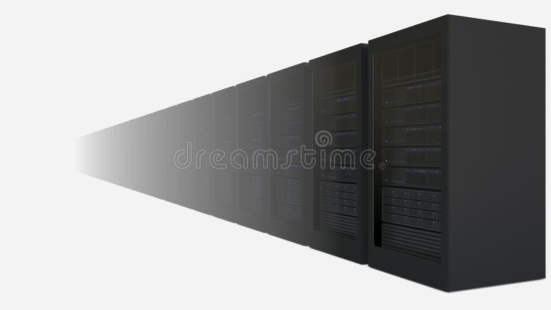 Wzrastająca liczba serwer dręczy przeciw białemu tłu Obłocznych technologii powiązany 3D rendering ilustracji