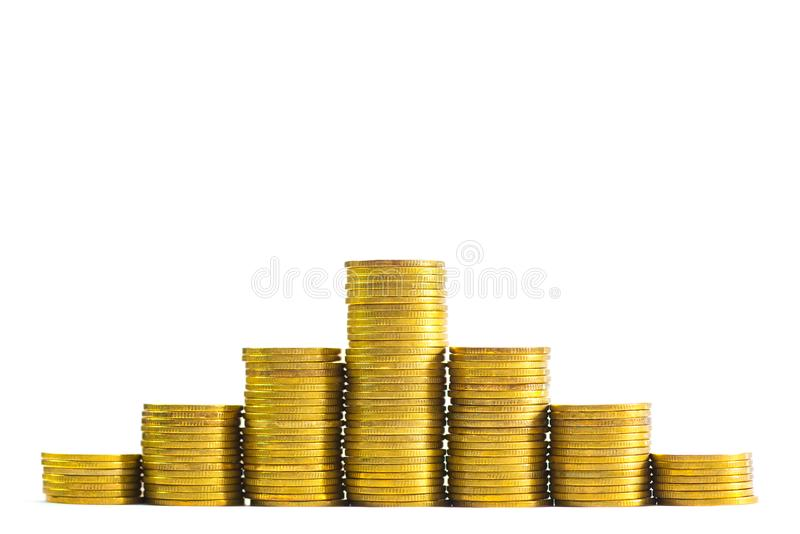 Wzrastające kolumny monety, stosy złociste monety układać jako g obraz stock